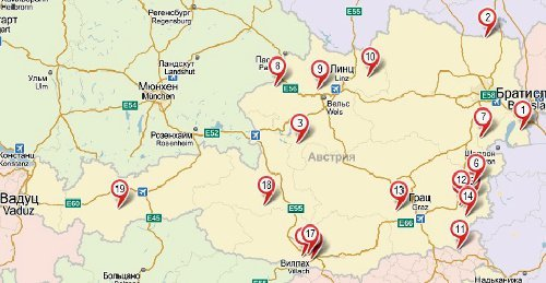 Термальные курорты на карте Австрии