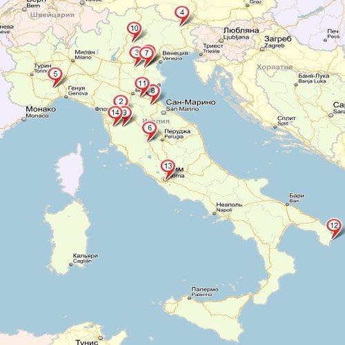 Термальные курорты Италии на карте